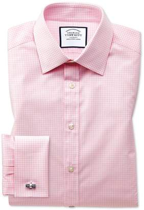 Charles Tyrwhitt Classic Fit Small Gingham Light Pink Cotton Formal Shirt Single Cuff Size 15/35