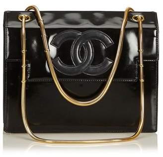 Chanel Vintage Snake Chain Patent Leather Shoulder Bag