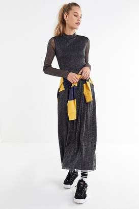 Urban Outfitters Glitter Mesh Mock-Neck Maxi Dress