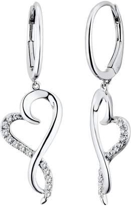 Two Hearts Forever One 1/4 Carat T.W. Diamond Sterling Silver Heart Drop Earrings