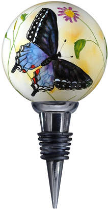 Precious Moments Ne'Qwa Art Hand-Painted Blown Glass Blue Butterflies Wine Stopper