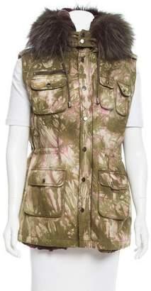 Jocelyn Fox Fur-Trimmed Utility Vest