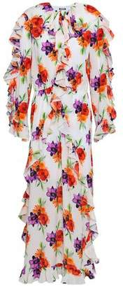 MSGM Floral-print Silk Crepe De Chine Maxi Dress