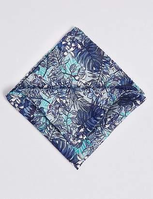 Marks and Spencer Pure Silk Tropical Leaf print Pocket Square