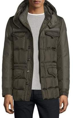 Moncler Jacob Mixed-Media Down Field Jacket, Olive $1,485 thestylecure.com
