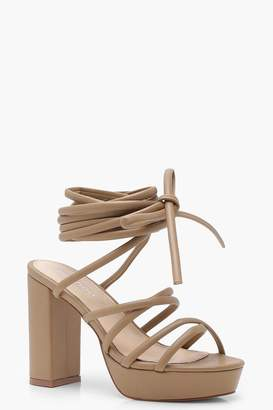boohoo Evie Cross Strap Tie Up Platform Heels