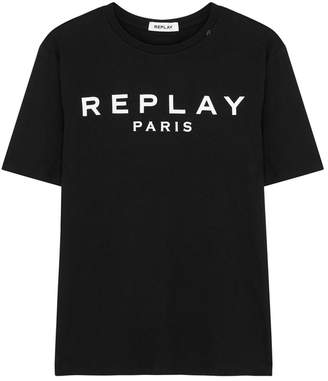 Replay Black Logo-print Cotton T