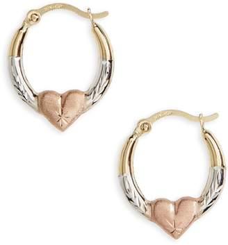 Kardee Jewelry Kardee Kids 14k Gold Heart Hoop Earrings