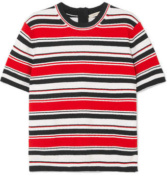 Marc Jacobs Striped Cotton-blend Terry T-shirt - Red