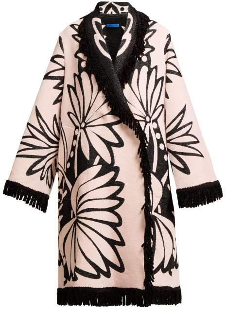 Ilison - Palm Intarsia Tasselled Cotton Coat - Womens - Pink Multi