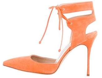 Manolo Blahnik Pointed-Toe Lace-Up Pumps