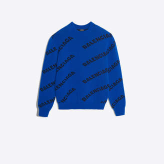 Balenciaga Regular fit sweater with allover logo jacquard knit