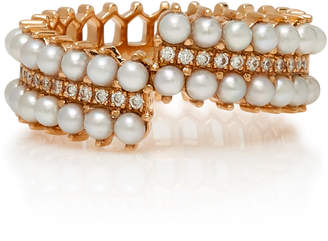 Nouvel Heritage Double Lace 18K Rose Gold Pearl Ande Diamond Ring