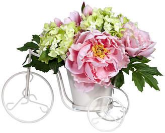 Asstd National Brand Nearly Natural Peony & Hydrangea Tricycle Silk Flower Arrangement