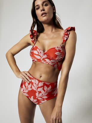 Leaf Print Ruffle Strap Wrap Bikini Top