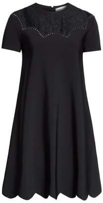 Valentino Scallop Detail Lace Yoke Dress