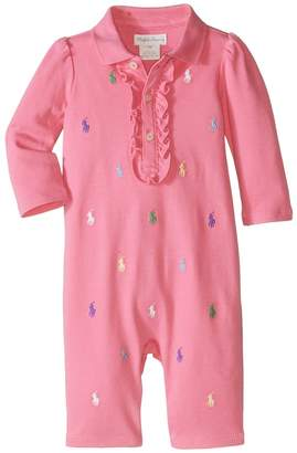 Ralph Lauren Interlock Schiffli One-Piece Coveralls Girl's Overalls One Piece