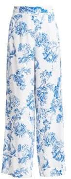 Oscar de la Renta Flared Floral Silk Trousers