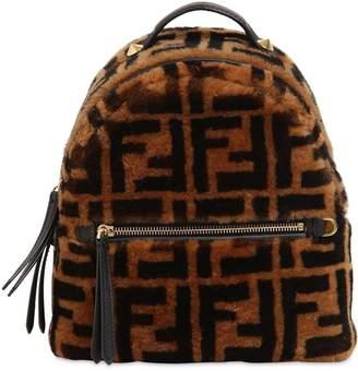 Fendi Logo Printed Shearling Backpack
