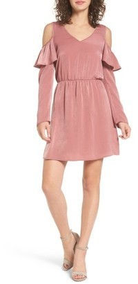 Women's Everly Ruffle Satin Cold Shoulder Dress $49 thestylecure.com
