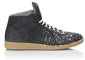 Maison Margiela Men's Paint Splatter Leather Sneakers