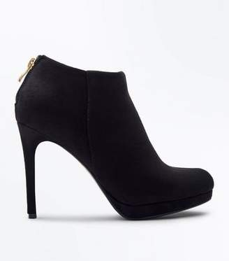 New Look Black Suedette Platform Shoe Boots