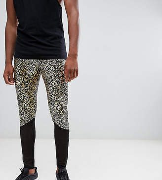Asos Design DESIGN tall festival meggings with leopard print and mesh panel