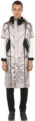 Raglan United Hooded Shiny Nylon Parka Coat
