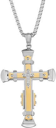 Men's Two Tone Stainless Steel Cubic Zirconia Cross Pendant Necklace
