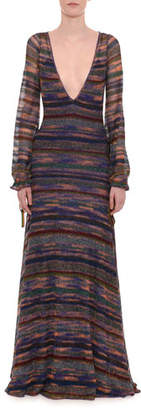Missoni Deep-V Long-Sleeve Elastic Cuff Metallic-Stripe Long Dress
