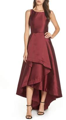 Adrianna Papell Mikado High/Low Sleeveless Gown