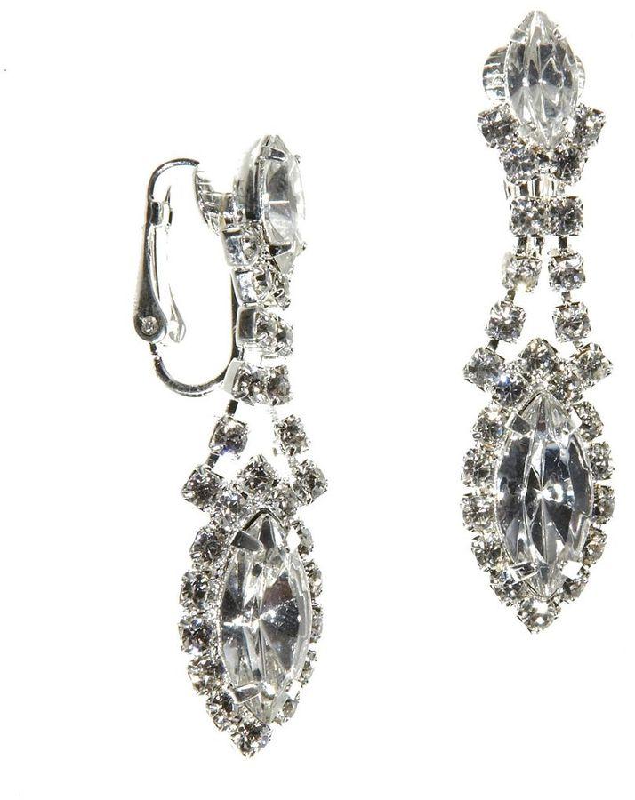 Dillard's crystal collection framed navette clip-on earrings