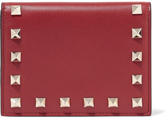 Valentino - The Rockstud Leather Wallet - Claret $545 thestylecure.com