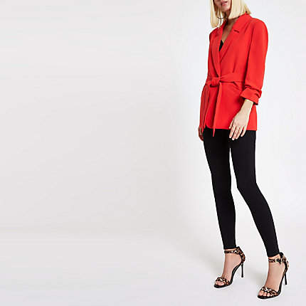 Womens Red ruched sleeve tie waist blazer