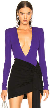 Alexandre Vauthier Stretch Jersey Plunging Bodysuit in Purple | FWRD