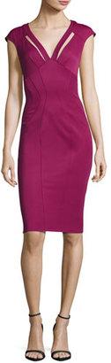 ZAC Zac Posen Joni Cutout Ponte Sheath Dress, Sangria $375 thestylecure.com