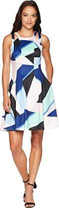 Vince Camuto Women's Printed Halter Fit Flare Dress