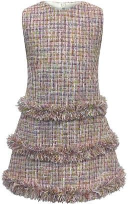 Helena Sleeveless Fringe Tweed Dress, Size 7-14