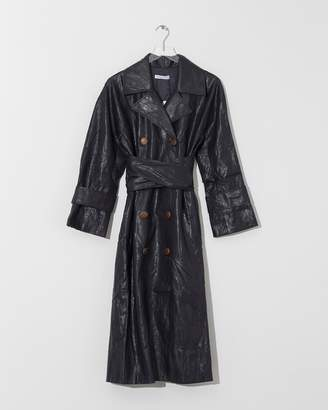 Modern Heritage Rejina Pyo Navy Faux Leather Oil Trench