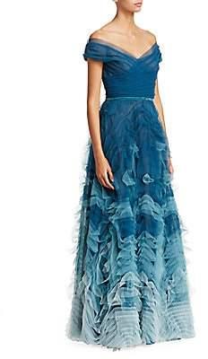 Marchesa Women's Off-The-Shoulder Ombré Tulle Gown