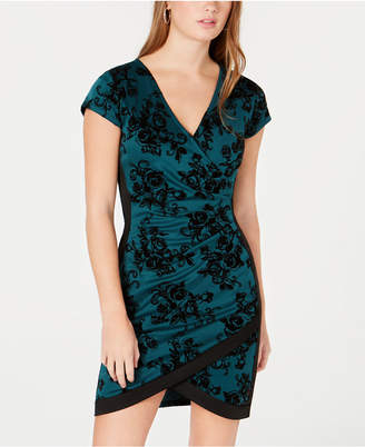 Almost Famous Juniors' Flocked Wrap Dress