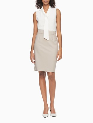 Calvin Klein straight pencil cream suit skirt