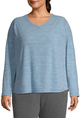 ST. JOHN'S BAY SJB ACTIVE Active V-Neck Polar Fleece Sweatshirt - Plus