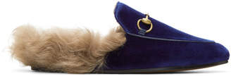Gucci Blue Velvet and Fur Princetown Slippers
