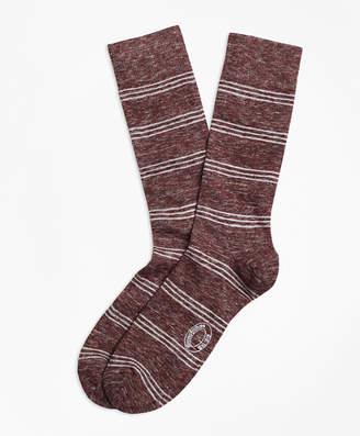 Brooks Brothers Marled Tri-Stripe Cotton-Wool-Blend Socks