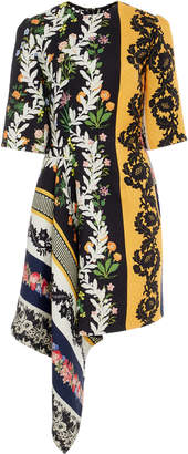 Oscar de la Renta Asymmetric Floral-Print Wool-Crepe Mini Dress