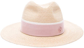 Maison Michel Henrietta Timeless Straw Hat With Thin Canapa