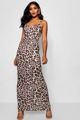 boohoo Leopard Print Strappy Jersey Maxi Dress