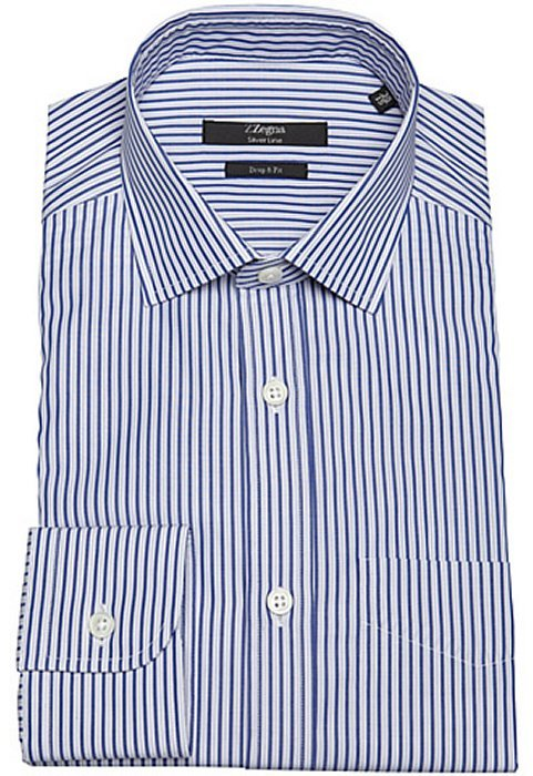 Z Zegna blue and white stripe cotton spread collar dress shirt