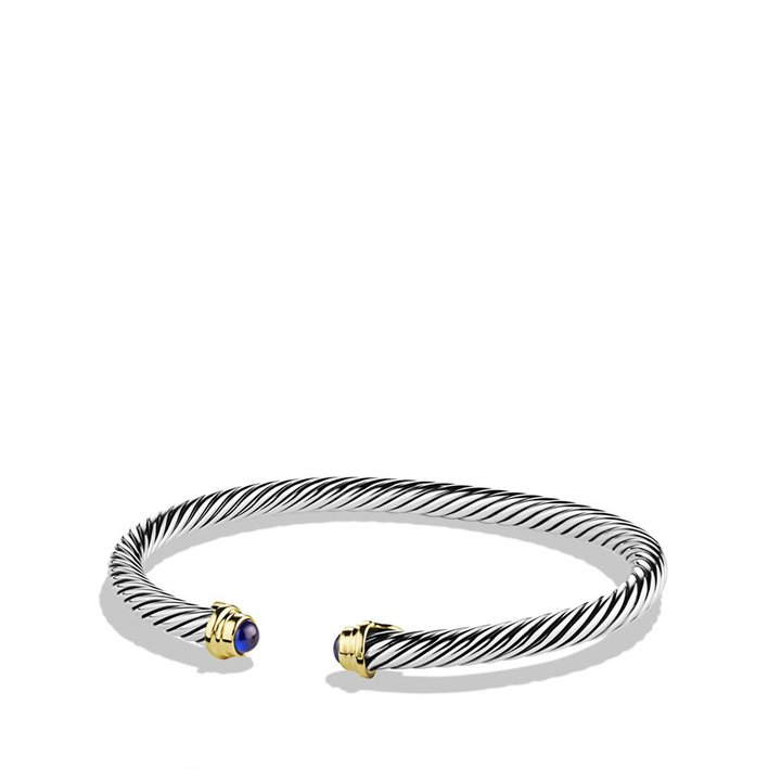 David Yurman Cable Kids September Birthstone Small Bracelet with Sapphire and Gold